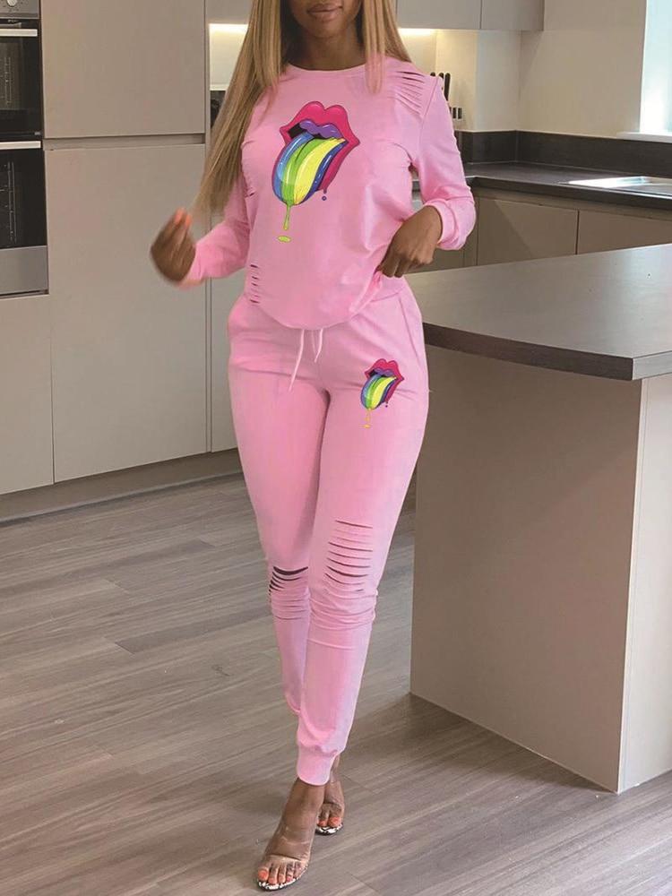 2020 New Women's Sets Mouth Print Pattern Ribbed Tracksuit 2pcs Casual Tracksuit Suits Sweatshirt Sport Trouser 2 Piece Suit