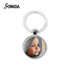 Hot Personalized Custom Keychain Mother Baby Photo/Team Logo/ Souvenir Glass Cabochon Key Chain Customized Wonderful Gift