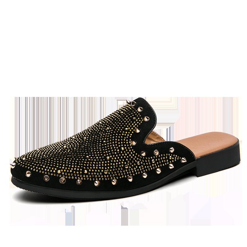 studded men leather shoes designer italian party evening oxfords elegant male dress moccasins vintage spiked pointed shoes man (2)