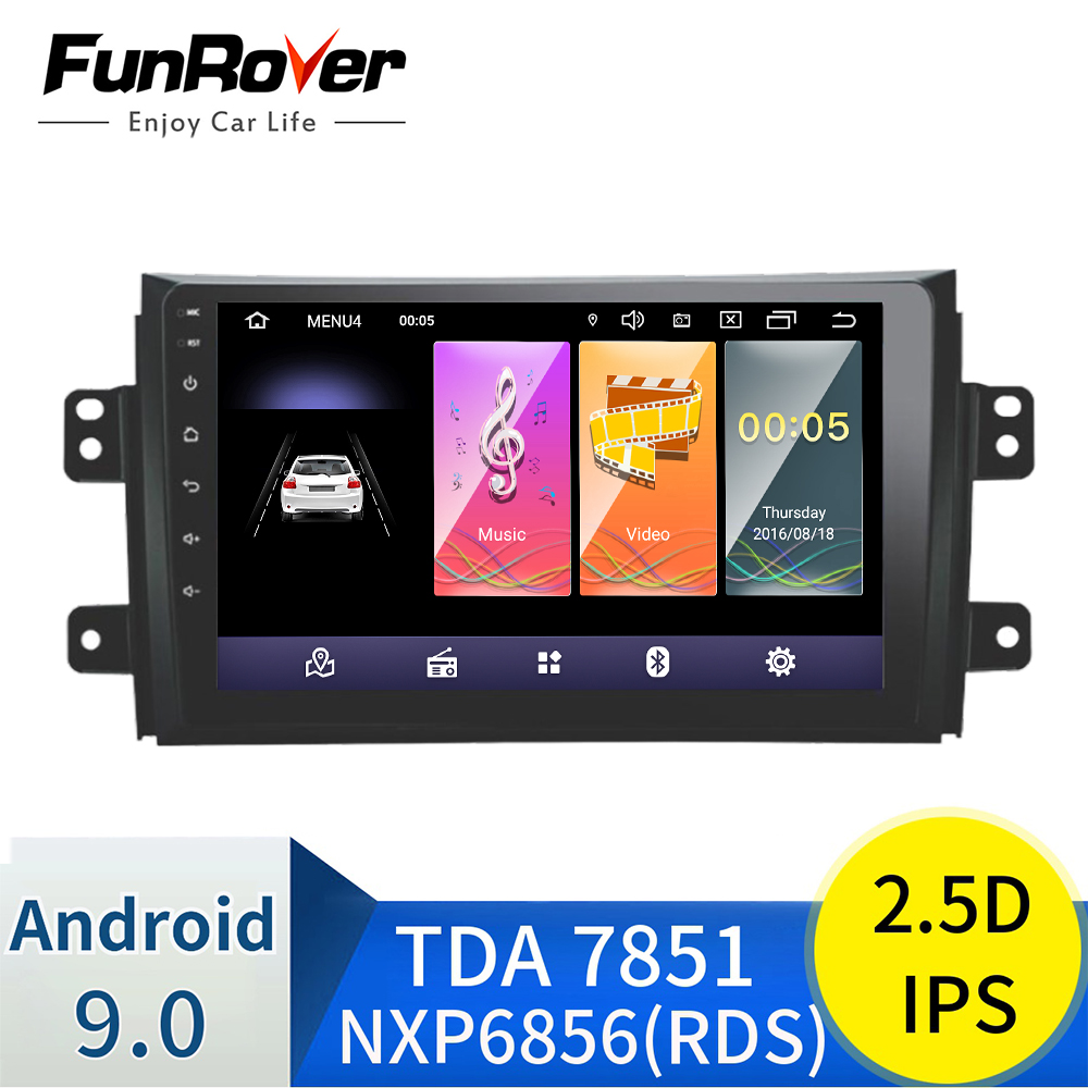 Funrover 2.5D+IPS Android 9.0 Car dvd Player for <font><b>Suzuki</b></font> <font><b>SX4</b></font> 2006-2013 car radio gps Navigation multimedia Player Quad Core RDS image