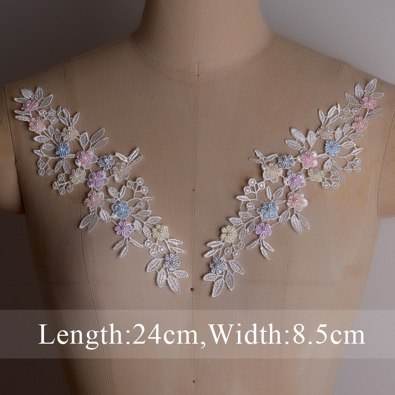Embroidery ABS Pearl Lace Collar Venise Applique  Sequin Sewing Trim Lace Neckline Bracelet Fabric DIY Clothing Accessories