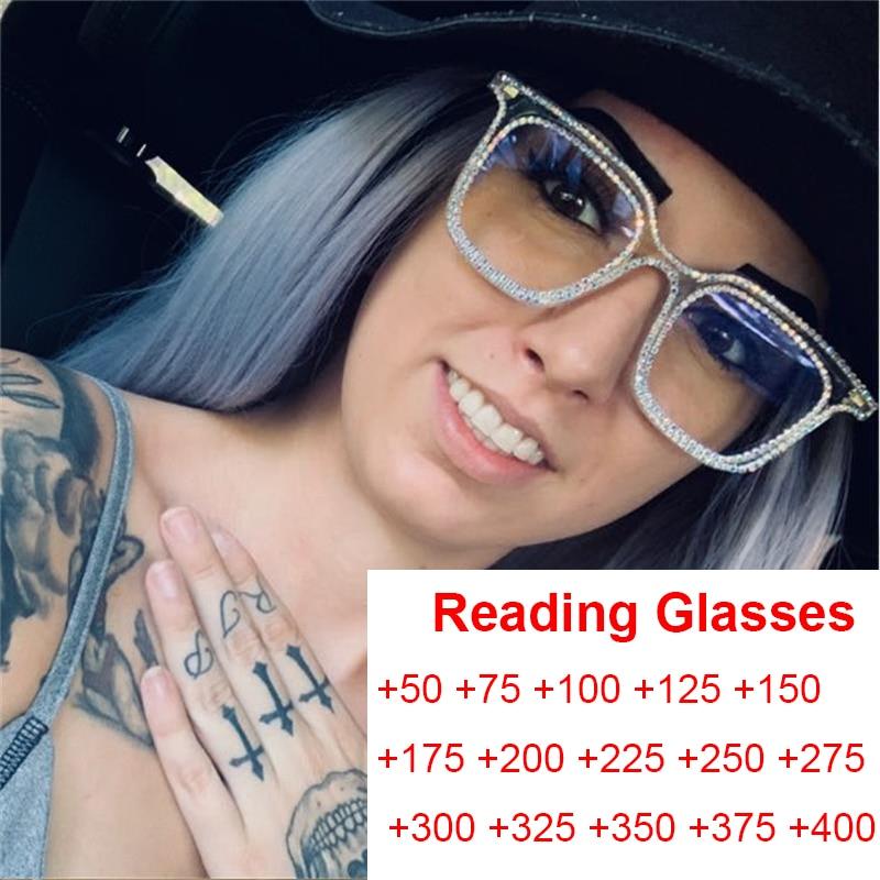 Kristal okuma gözlüğü kare gözlük çerçeveleri şeffaf gözlük anti mavi ışık bilgisayar gözlükleri kadınlar için Bling elmas gözlük