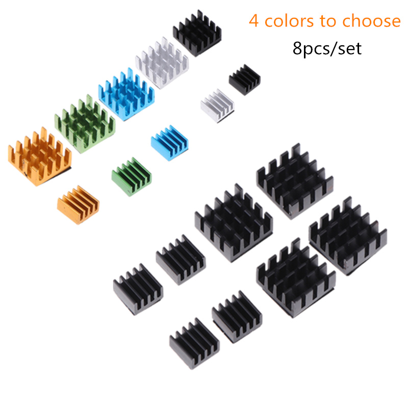 8pcs/set Aluminum Alloy Heatsink Cooling Pad Cooler Radiator Heat Sink For Raspberry Pi 2/3/4B