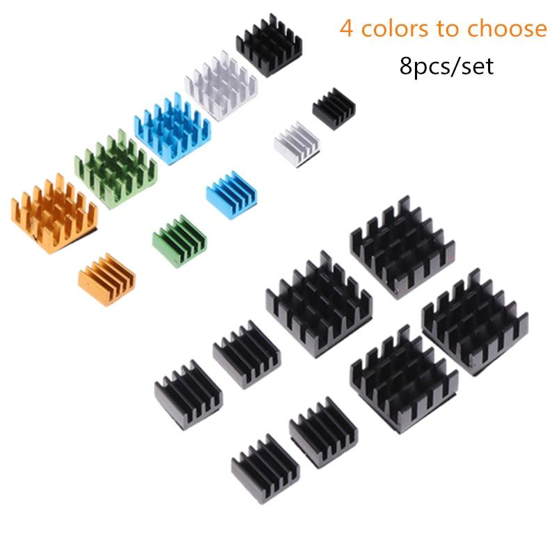 8pcs/set Aluminum Alloy Heatsink Cooling Pad Cooler Radiator Heat Sink For Raspberry Pi 2/3/4B