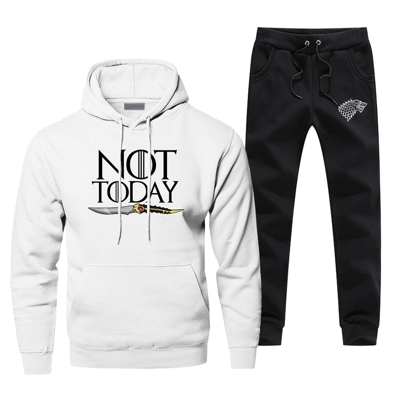 Game Of Thrones Not Today Hoodies Pants Men Sets Track Suit Sweatshirt Sweatpants Ayra House Stark Autumn Sports 2 PCS Tracksuit