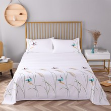 Embroidered cotton twill reed bed sheet pillowcase(1flat sheet +2pillowcases) for home white