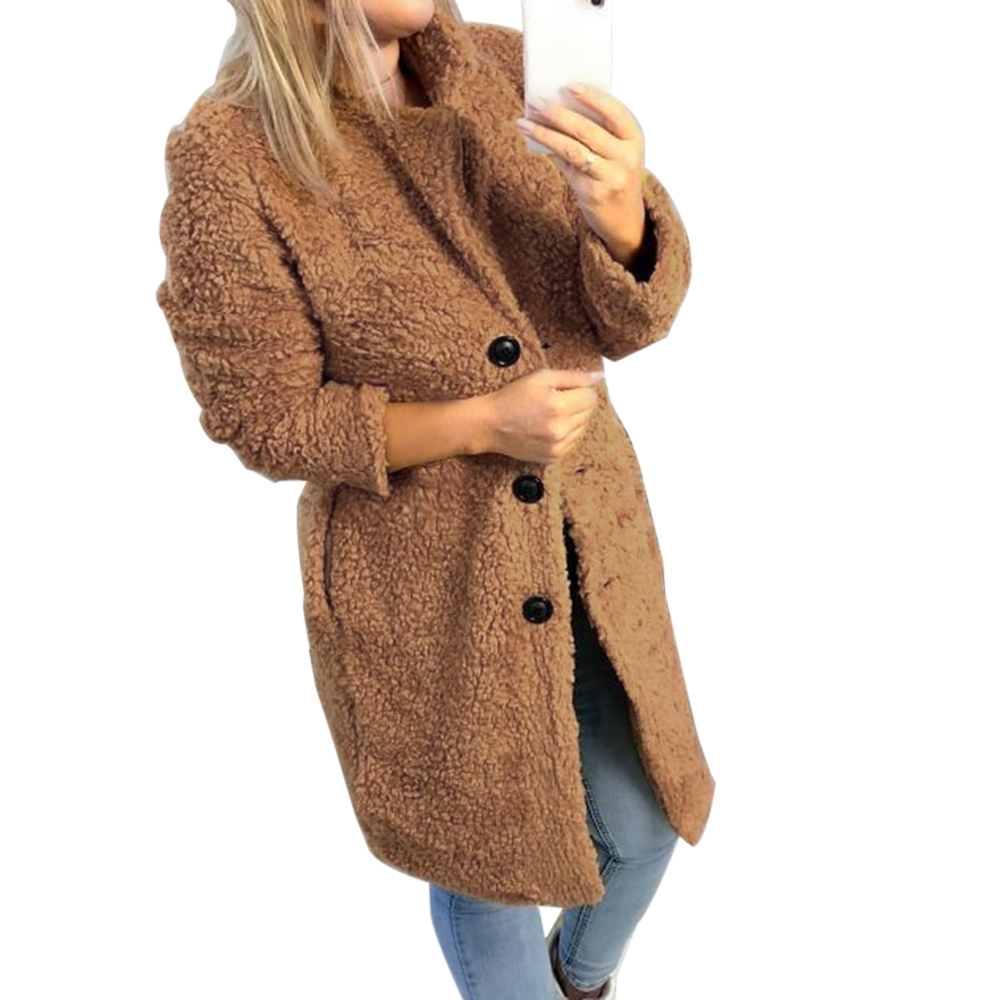 HEFLASHOR Women's Plush coat autumn winter Women Button Jacket Casual Warm turndown collar fur Outwear Mid-Length Woolen jackets 6