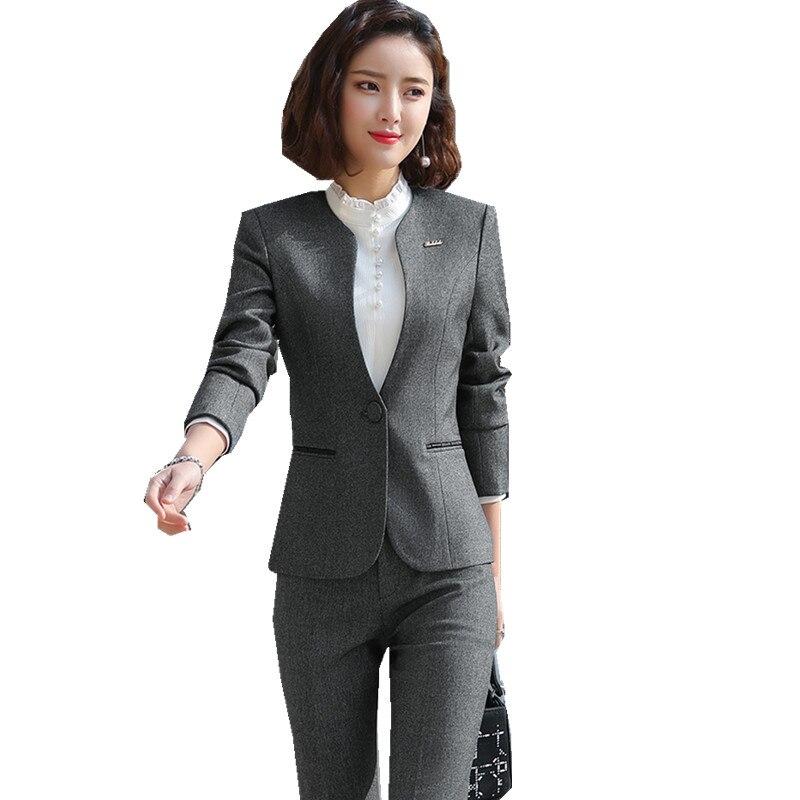 Costume gris femme costume professionnel femme 3 pièce veste chemise pantalon bureau bijouterie salopette costumes dame costume ow0527