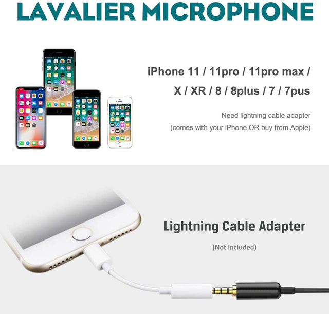 BassPal Lavalier Lapel Microphone, Omnidirectional Condenser Mic for iPhone iPad Mac Android Smartphones,Noise Cancelling Mic Uncategorized