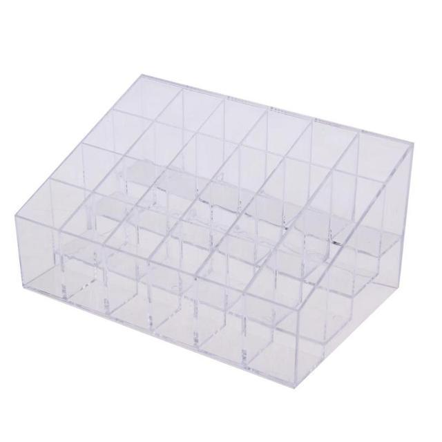Clear Acrylic 24 Grid Makeup Organizer Storage Box Lipstick Nail Polish Display Stand Holder Cosmetic Jewelry Organizer Box Case 1