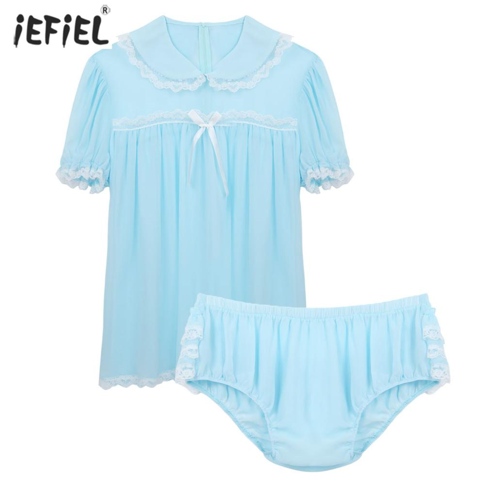Sexy <font><b>Gay</b></font> Men <font><b>Lingerie</b></font> <font><b>Set</b></font> Sissy Chiffon Short Puff Sleeve Frilly Lace Dress Male <font><b>Lingerie</b></font> Doll Collar Shirt Ruffled Panties <font><b>Set</b></font> image