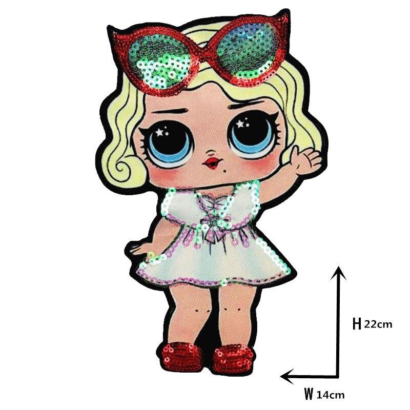 Мультяшные нашивки женские модные куклы лол для девочек Милая Модная Кукла-мальчик вышивка на одежду ручная работа украшение одежды Блестки Ткань - Цвет: WW-1