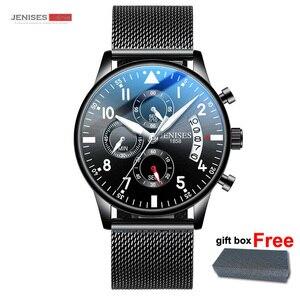 Image 5 - Мужские спортивные часы JENISES, Топ бренд, Модные Военные часы с хронографом, Автоматическая Дата, кварцевые часы с кожаным ремешком, мужские часы Relogio Masculino