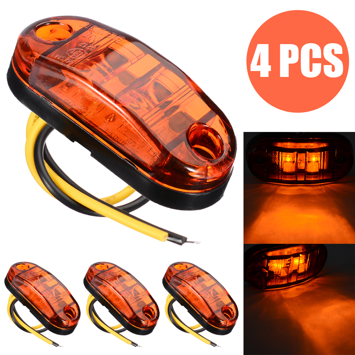 4pcs/set Amber 2LED Light 12V 24V Oval Clearance Car Trailer Truck LED Side Marker Lamp Bulbs Waterproof