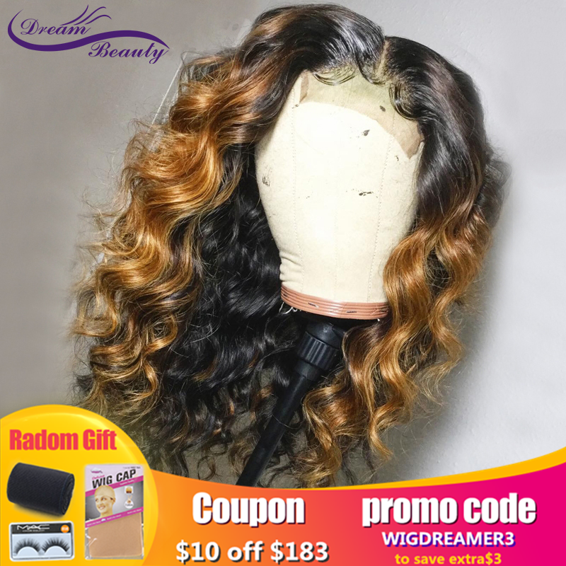 Ombre Color Glueless 13x6Lace Front Wig 130% Density Lace Front Human Hair Wig With Baby Hair Pre Plucked Remy Hair Dream Beauty