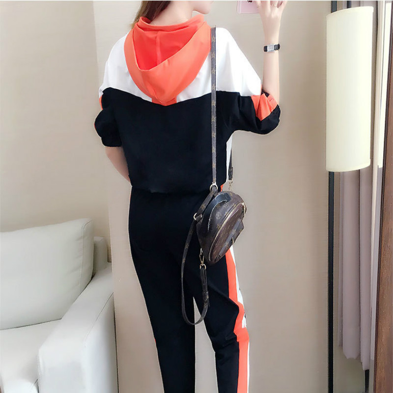 Clearance SaleSemfri Tracksuit Women Hooded Two-Piece-Set Autumn Female Striped Loose-Style Spring
