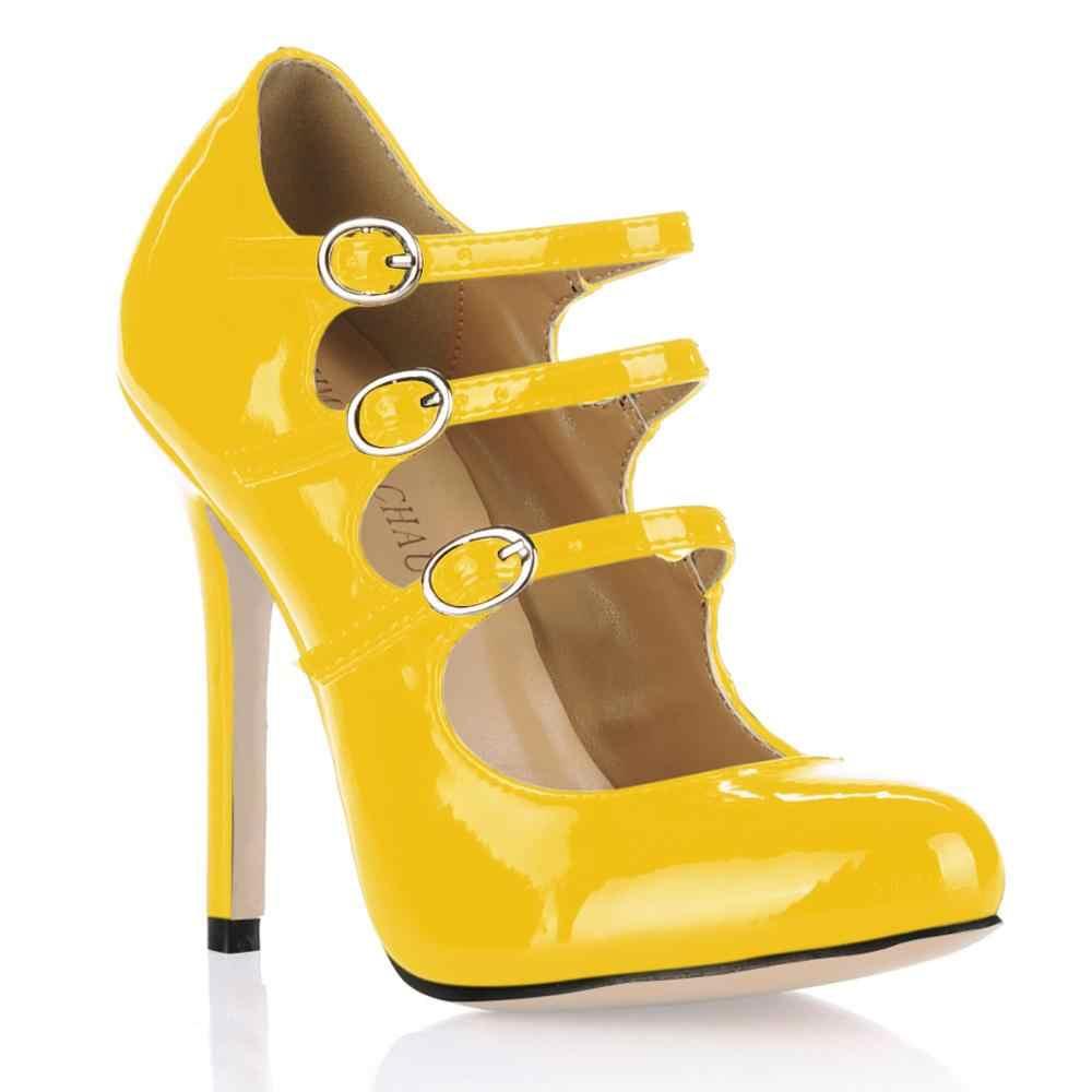 2017 New Đen Trắng Giày Bên Sexy Phụ Nữ Chân Tròn Mỏng Super High Heels Buckle Dây Đeo Rome Lady Bơm Zapatos Mujer 0640C-b1