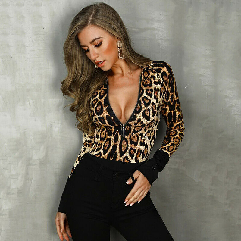 Fashion Causal Women's Sexy Autumn Long Sleeve Leopard Zip V Neck Bodysuit Leotard Tops Jumpsuit Rompers