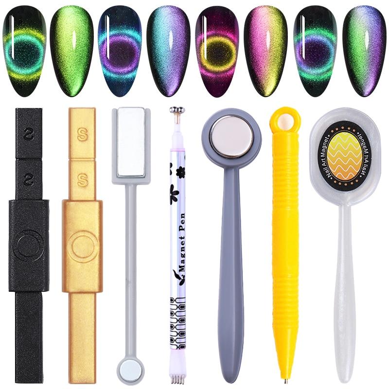 12-in-1 Cat Eyes Magnet Strong Effect Magetic Stick Board For 9D Cat Eyes Gel 3D Line Strip Effect Multi-function Magnetic Pen