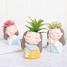 4 pcs/set Little Warm Girl Planter Resin Succulent Plants Pot Mini Bonsai Cactus Flower Home Decor gift wholesale
