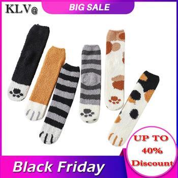 5Pairs Lovely Winter Women Warm Socks Female Socks Cute Cat Claws Cute Thick Warm Sleep Floor Socks