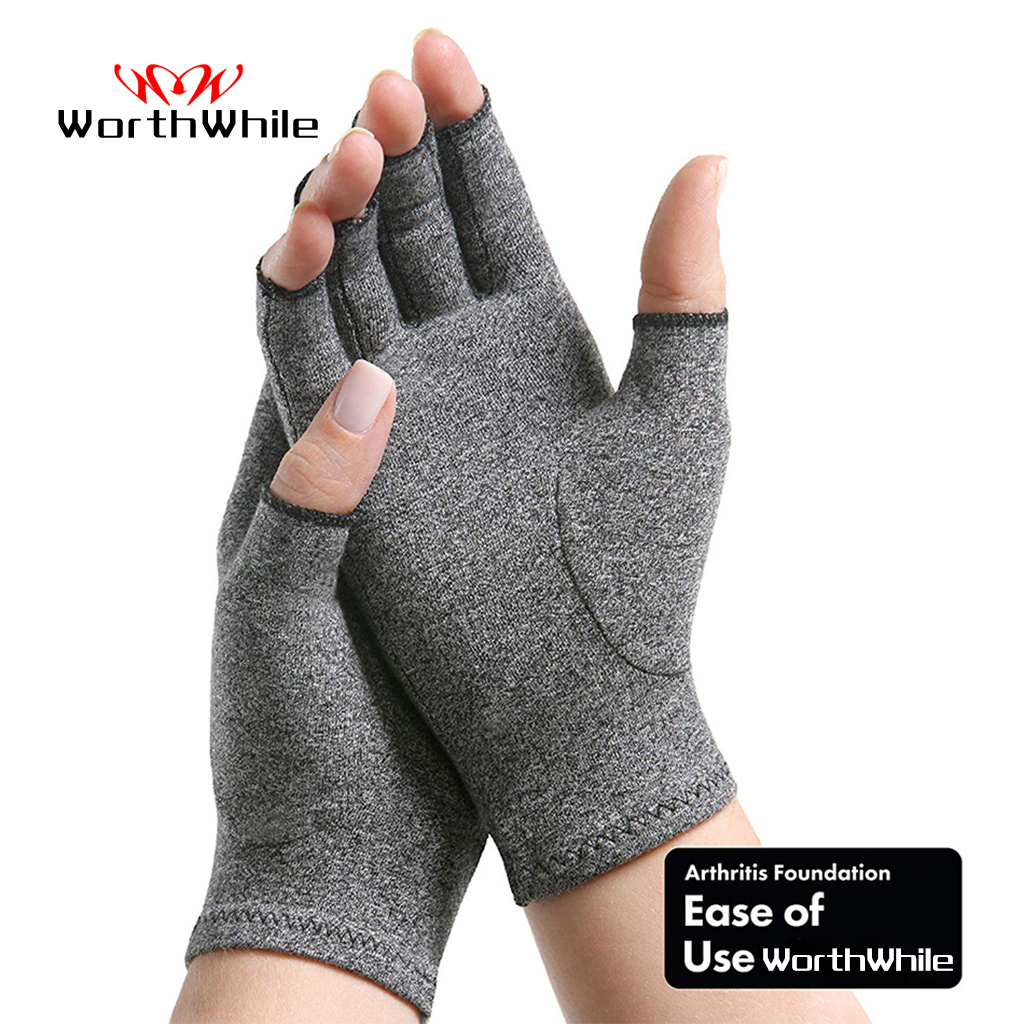 WorthWhile 1 Pair Compression Arthritis Gloves Wrist Support Cotton Joint Pain Relief Hand Brace Women Men Therapy Wristband 1