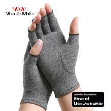 WorthWhile 1 Pair Compression Arthritis Gloves Wrist Support Cotton Joint Pain Relief Hand Brace Women Men Therapy Wristband(China)