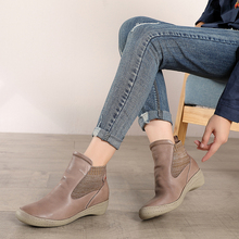 2019 VALLU Winter Women Shoes Ankle Boots Round Toes Female Short Booties Genuine Leather Handmade Lady Comfort Shoes