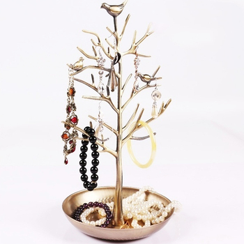 Hot Sale Jewelry Display Stand Rack Tree Bird Stand Iron Necklace Earring Holder Bracelet Fashion Organizer 3 Colors 2016 hot sale 3 colors 100