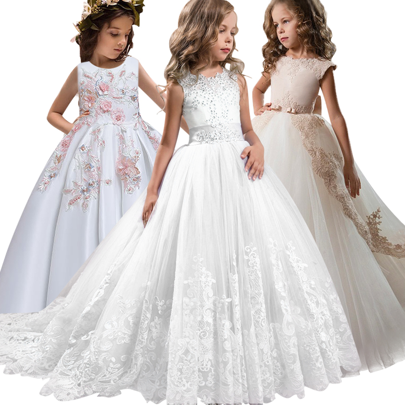 2020 New Lace Wedding Holy Dress The Flower Girl Bow Tie The Tennis Party The Banquet Party Show Ball Dress Vestidos De Fiesta