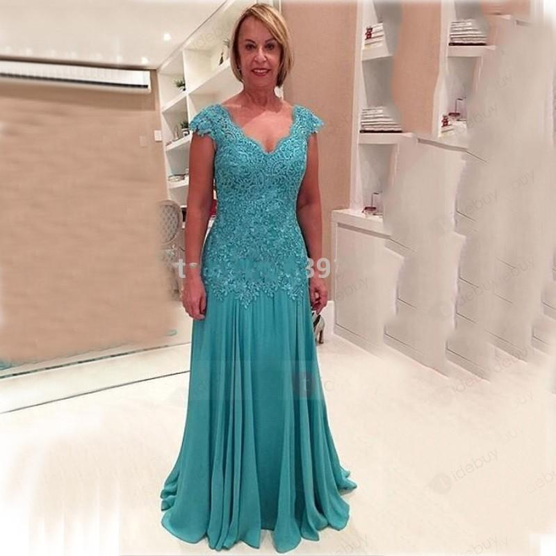 Turquoise Mother of the Bride Dresses Lace Chiffon V Neck Cap Sleeve Mother of The Groom Dress Plus Size Party Dress Store Cheap