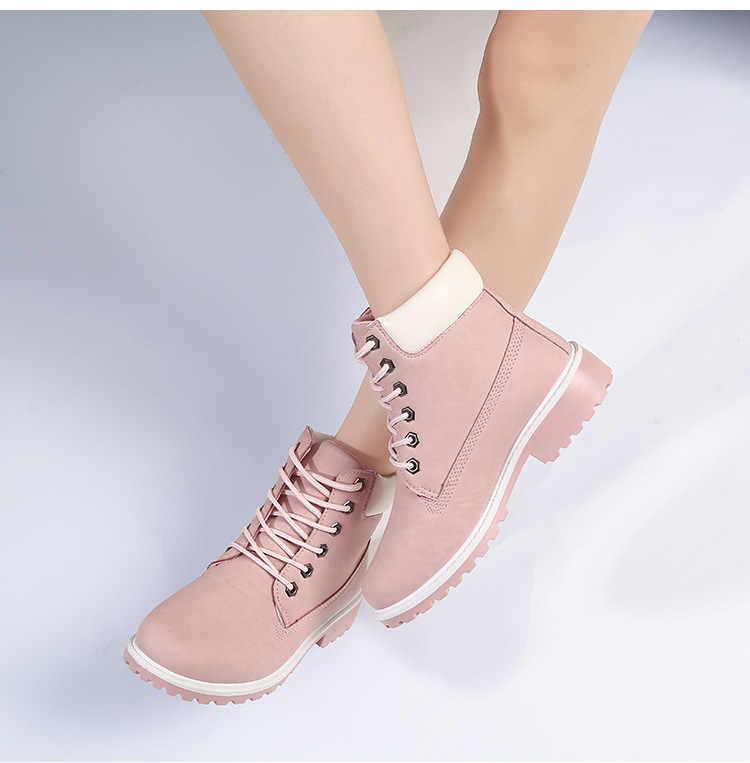 Nữ Trần giày Mới Thu Đầu Mùa Đông Giày Nữ Đế bằng Giày Bốt Thời Trang Giữ ấm Giày Bốt nữ Đỏ hồng người phụ nữ Mắt Cá Chân Botas