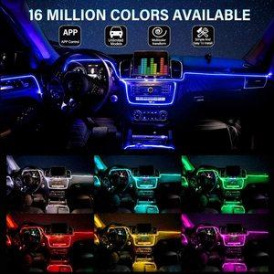Image 5 - ANMINGPU RGB araba atmosfer iç ışık Neon LED şerit işıklar App ses kontrolü çoklu modları otomatik ortam dekoratif lamba