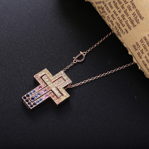 Image 2 - Slovecabin Pink Gold Long Chain D Leter Cross Colorful AAA Zircon Pendant Necklace 925 Sterling Silver JapanWomen Luxury Jewelry
