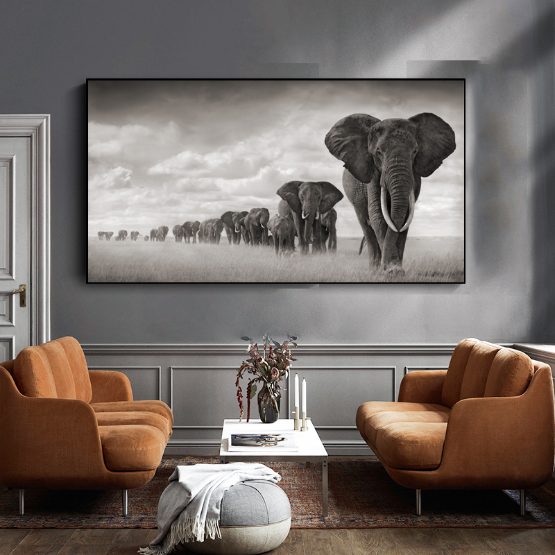 Black and white elephants African animals canvas painting posters Scandinavian poster printing sitting room wall art images