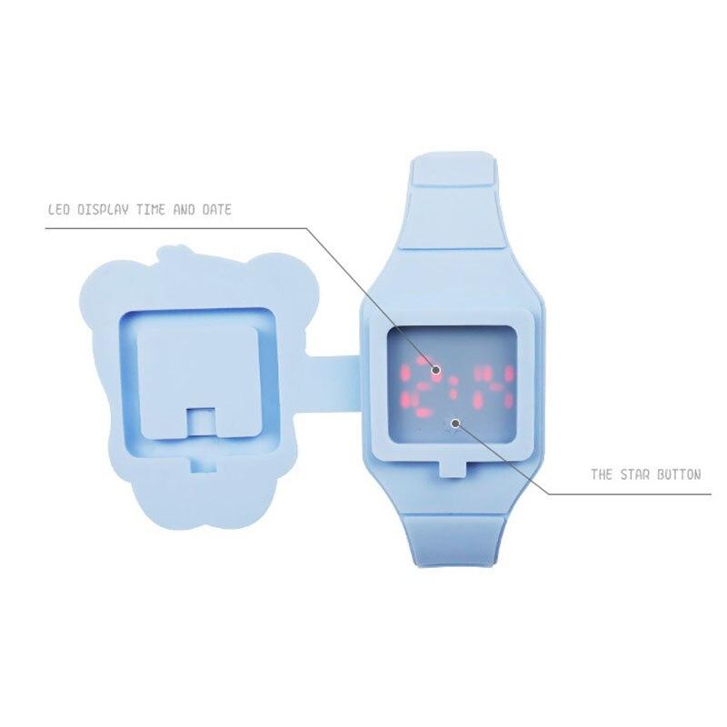 1 Pcs Kids LED Electronic Watch Silicone Band Cartoon Panda Flip Case Wrist Watch Lovely Gift EIG88