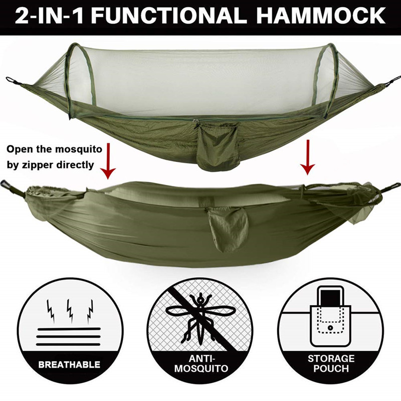 Camping Hammock with Mosquito Net, Portable Nylon Double Hammock with Tree Straps Carabiner for Indoor, Outdoor, Hiking, Travel(China)