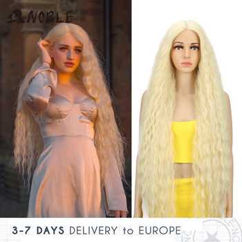 цена на Noble Cosplay Synthetic Lace Front Wig Long Wig Cosplay Curly 42 Inch Ombre Blonde color Wig  Synthetic Lace Front Wig For Women