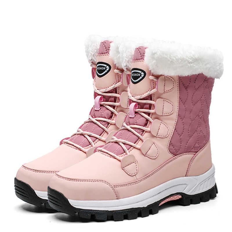 נשים חורף מגפי 2019 נשים מגפי שלג חם פרווה חורף נעלי החלקה תחרה עד שלג מגפי- 40 מעלות
