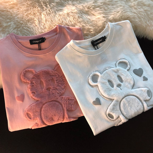 Cotton Japanese Love Bear Couple Short Sleeve Top 2021 Early Spring Oversize Loose sweatshirt for Women 3