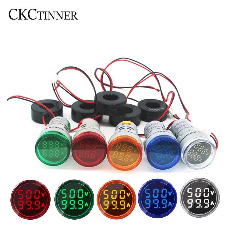 22 мм круглый светодиодный двойной Дисплей AC Вольтметр Амперметр Вольтметр 60-500V 220V Цифровой Амперметр цифровой Напряжение сила тока в ампер...