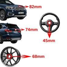 Capa dianteira de fibra carbono emblema 82mm distintivo traseiro 74mm cubo da roda tampa 68mm volante adesivo 45mm para bmw e36 e39 e60 e46 e91