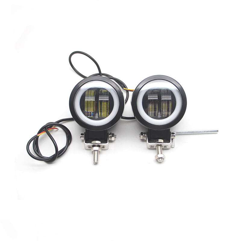 ABS Motorcycle Fog Light Work Light Round Portable Spotlights Offroad Driving Car Black 1 Pcs 1 Pair