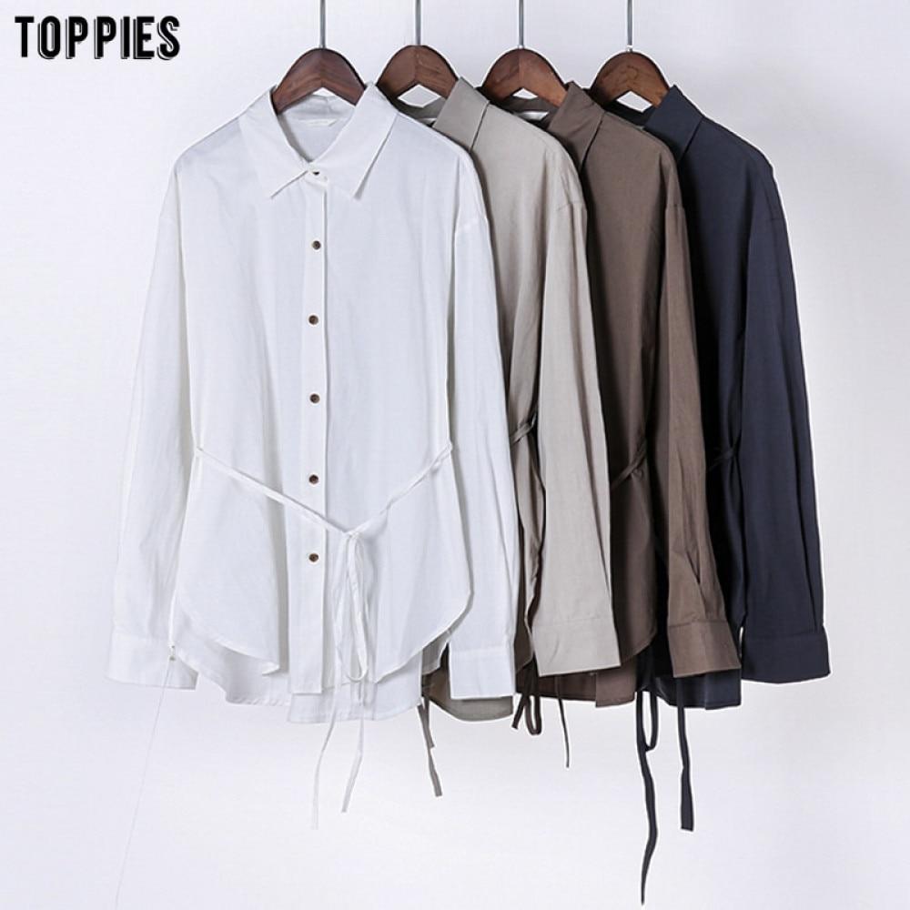 Toppies-camisetas de algodón de manga larga para mujer, Tops de gran tamaño con cinturón con cordones, ropa de moda coreana 2020