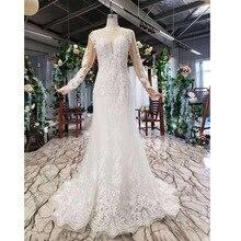 BGW vestidos de novia largos de sirena HT43025, diseño a la moda con tren desmontable, cristal pesado hecho a mano, 2020