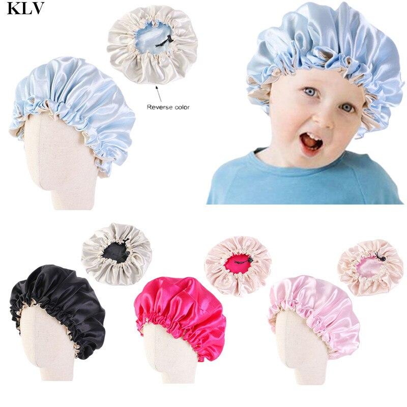 Klv caçoa o tampão reversível macio do bebê do tampão da noite do sono do tamanho ajustável da dupla camada do gorro do cetim para 2-7 anos crianças