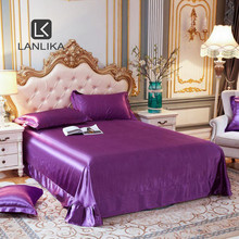 Lanlika 2020 Luxury Noble 100% Silk Purple Beauty Flat Sheet Bed Linen Silky Queen King Bed Sheet Soft Pillowcase Free shipping