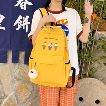 Ice Cream Backpack Solid Color Backpacks High Quality University Bag Women Teen Pattern Multi Pocket Bags