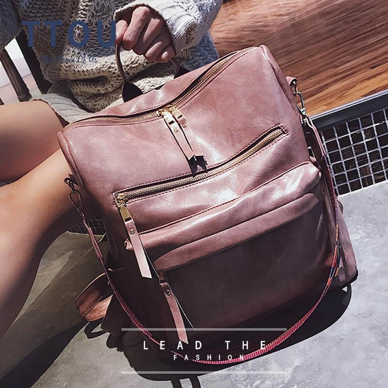 TTOU Women Large Capacity Backpack Students School Bag Large Multifunction Travel Bags Mochila Vintage Laptop Backpack Bookbag