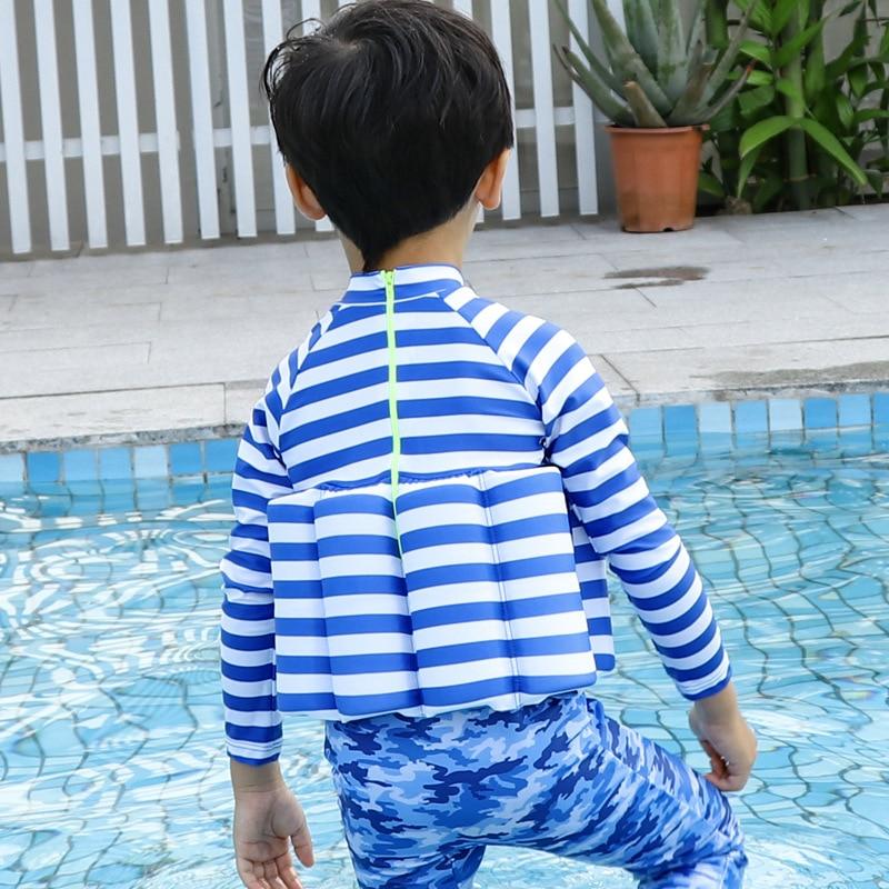 Wave Die Yi CHILDREN'S Buoyancy Swimsuit Baby BOY'S Boy BABY'S Bathing Suit One-piece Long Sleeve Floating Bathing Suit